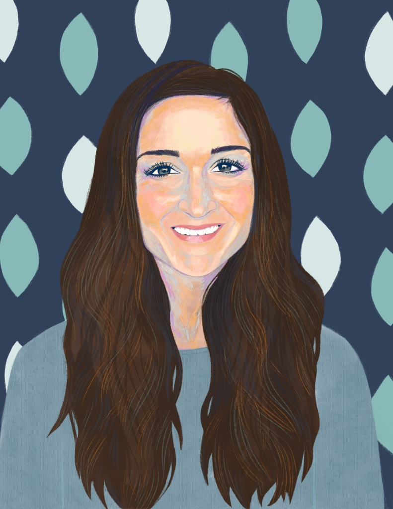 Digital painting of Roz, a caucasian woman in her 30's with long brown hair who is smiling. She wears a blue top. The background is decorative with blues, teals and leaf shapes.
