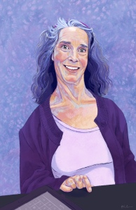 Digital painting of A.J.. She is Caucasian, with wavy, gray hair that falls at her shoulders. She is smiling while resting her right hand on a black table. The table has a tablet on it. She is wearing an open dark purple long sleeve cardigan and a light purple shirt underneath. The background is an abstract purple design.