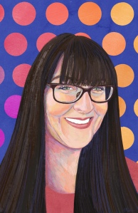 A digital painting of Bridgette. A smiling Caucasian woman with long dark brown hair, bangs and black glasses. She wears a coral coloured shirt. The background is a pink and orange polkadot drain with purple underneath.