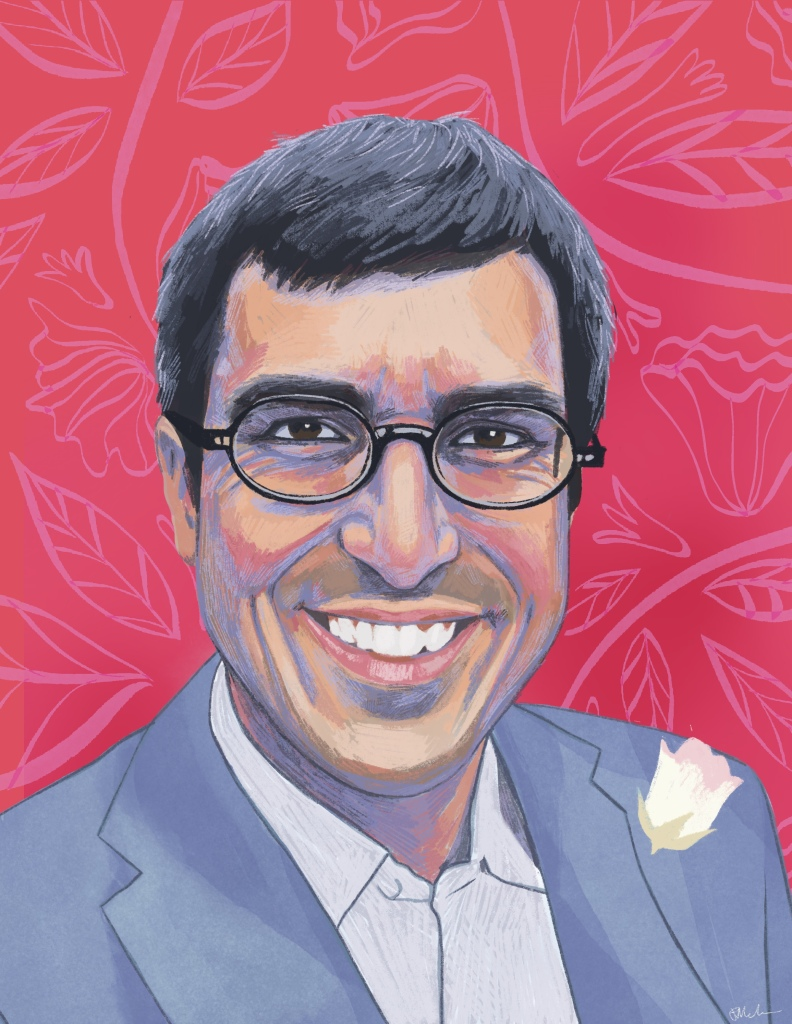 A digital painting of Chris, a light skinned man with black hair, glasses, and a shadow on his upper lip and chin. He is wearing black glasses and smiling at the viewer. He wears a blue suit with a white flower pinned on the left side, and a white button up shirt. The background is decorative a pink floral pattern drawn on red.