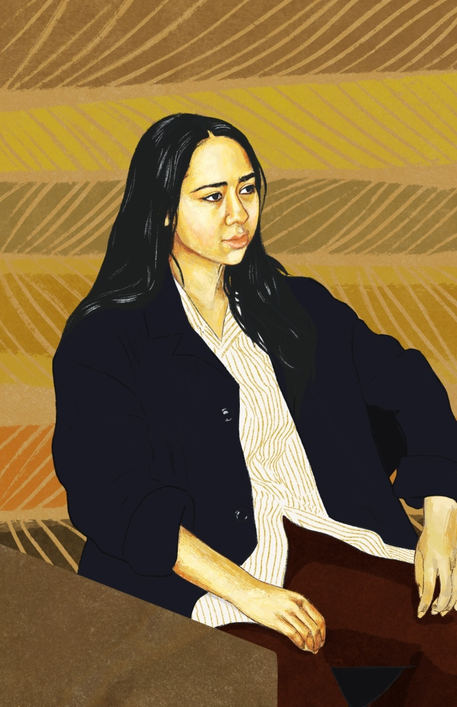 Digital painting of Jenn. She is looking away from the camera with a thoughtful expression and her hands resting on her lap.. She has long black her falling past her shoulders and is wearing a cream and yellow striped button-up  shirt with a dark blue unbuttoned cardigan overtop and brown pants.. The background is a brown yellow and green striped design.