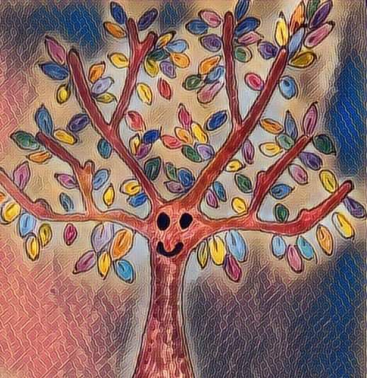 artwork of a tree in the center of the image with branches radiating from its top. The tree is brown and has a simple smiling face drawn in black, and multicoloured leaves, against a background of blues and pinks.