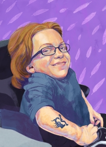 """Natasha is sitting in her wheelchair and smiles at the viewer. She is caucasian with orange shoulder length hair, wears glasses, a hearing aid, a blue t-shirt and is a """"little person."""" She has a tattoo of a wheelchair symbol with flames at the wheels. The background is purple with a feather pattern drawn in lighter purple."""