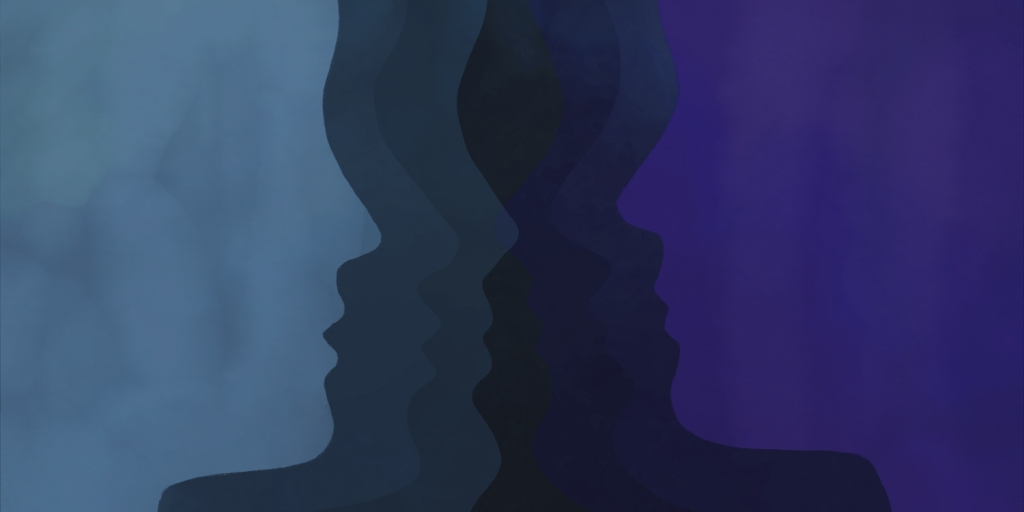 digital illustration, two faces in profile faceing each other, both shades of blue, against a black backdrop