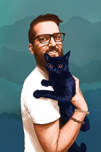 Digital illustration of George, a young Caucasian man who is holding his cat, and whose upper body and face are pictured. He is facing to the right and his face is turned to the viewer, smiling. He wears glasses and has short hair, and a moustache and beard. He wears a white t shirt and two beaded bracelets. He is rendered in warm brown and peach tones. His cat is rendered in dark blues with orangey brown eyes. The backrgound is decorative with blues and greens and the shapes of mountain ridges.