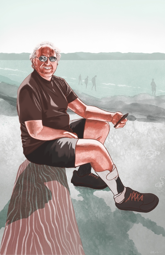 Digital watercolour painting of Michael rendered in reddish browns for Michael and light green - grey for the background. Michael smiles at the camera while he sits on a log at the beach. His phone is in his left hand and his right hand is in his lap. Behind him is the ocean and mountains, and some people walking in the distance. He is middle aged, Caucasian, and wears sunglasses, a brown t-shirt, black shorts, dark running shoes and a an orthotic leg brace on his right leg.  He is bald with gray and white hair.