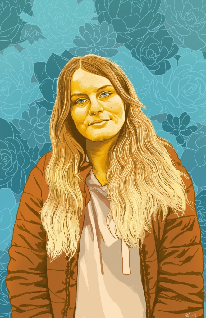 Vanessa, a young Caucasian woman with long wavy hair. Vanessa and her clothes are rendered in shades of orange, brown and warm yellow. Her head is tilted slightly to the left and her mouth is closed giving a very slight smile. She wears an unzipped coat over a hoody. Her eyes are light turquoise. The background is decorative with outlines of succulents in different shades of turquoise. ⁠⠀
