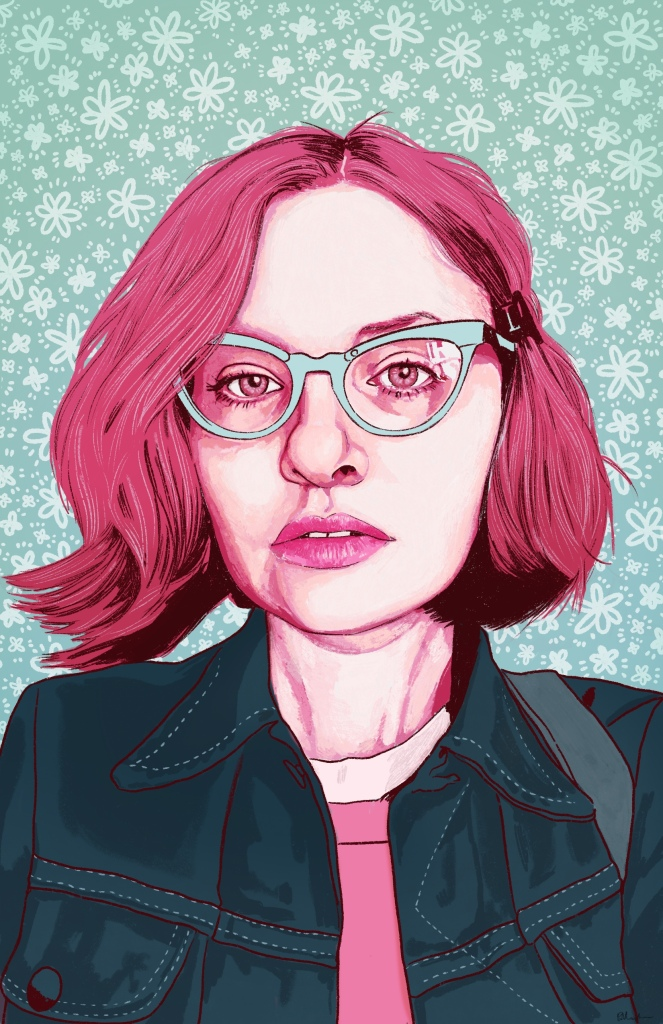 A digital painting of Chloe, a young Caucasian woman with slight wavy chin-length hair, wearing light teal glasses, a denim jacket, and a pink shirt. There is one strap from a backpack or purse on her left shoulder. She is looking at the viewer with her lips slighly parted. Her face and hair are rendered in bright and pale shades of pink, and her jacket is dark blueish green, with the stitching in a lighter blue. The background is decorative with a pattern of drawn daisies outlined in white and small dots against a turquoise background.