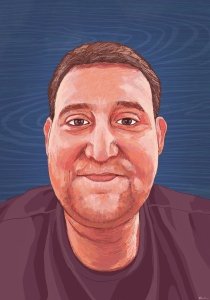 A digital painting of Sheldon, a young Caucasian man with short brown hair, brown eyes and light stubble on his chin, whose face and shoulders are pictured. He is wearing a purpleish brown shirt. He is giving a slight closed mouth smile. His skin is rendered in shades of coral. The background is decorative navy blue, with a wood grain pattern.
