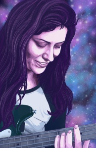 Digital painting of Kristin, who is a young light skinned woman. Her face and upper body are pictured but cut off on her right side. She is playing a bass guitar, the neck and top corner are picture. Kristin is rendered in shades of purple with dark purple long wavy hair, and her shirt is a baseball style long sleeved shirt with dark teal sleeves and a grey centre. The guitar is dark green with a grey neck. The background is made up of an image of space, with space dust in purples and blues with stars of varying brightness.